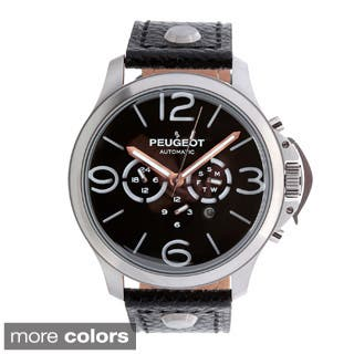Peugeot MK912 Men's Stainless Steel Automatic Multi-function Leather Watch|https://ak1.ostkcdn.com/images/products/9518375/P16696539.jpg?impolicy=medium