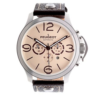 Peugeot MK912 Men's Stainless Steel Automatic Multi-function Leather Watch (Option: Brown)