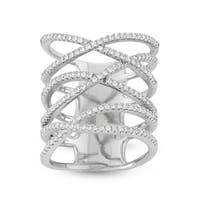 Gioelli Sterling Silver Enlongated X Ring