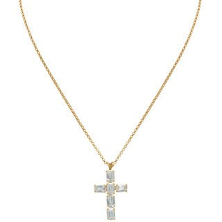 Gioelli 14k Gold Emerald Cut Cubic Zirconia Designer Cross Pendant Necklace