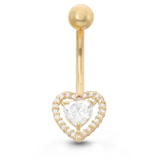 Gioelli 10k Gold Cubic Zirconia Designer Heart Belly Ring
