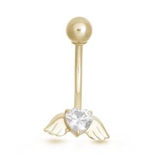 Gioelli 10k Gold Heart-cut Cubic Zirconia Angel Wings Belly Ring