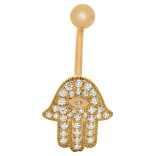 Gioelli 10k Gold Cubic Zirconia Hamsa Belly Ring