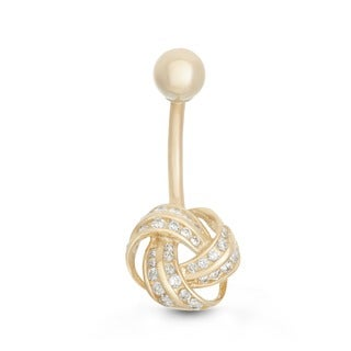 Gioelli 10k Gold Cubic Zirconia Love Knot Belly Ring