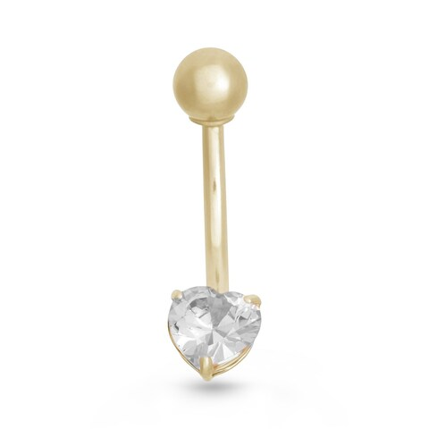 Gioelli 10k Gold Cubic Zirconia Heart Belly Ring