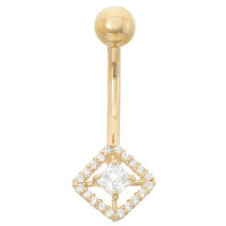 Gioelli 10k Gold Cubic Zirconia Square Belly Ring