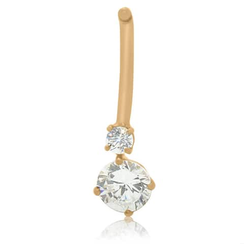 Gioelli 10k Gold Round-cut Cubic Zirconia Belly Ring