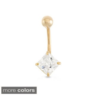 Gioelli 10k Gold Princess-cut Cubic Zirconia Belly Ring