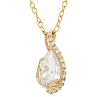Gioelli 10k Yellow Gold Pear-Cut Cubic Zirconia Designer Pendant Necklace