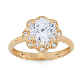 Gioelli 10k Gold Round-cut Flower Shaped Ring