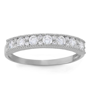 Gioelli 10k White Gold Round-cut Band Ring