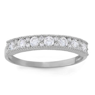 Gioelli 10k White Gold Round-cut Band Ring (3 options available)