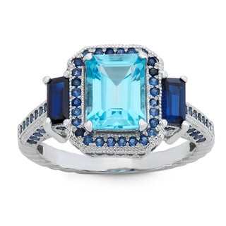 Gioelli Sterling Silver Swiss Blue Topaz and Created Sapphire Designer Ring