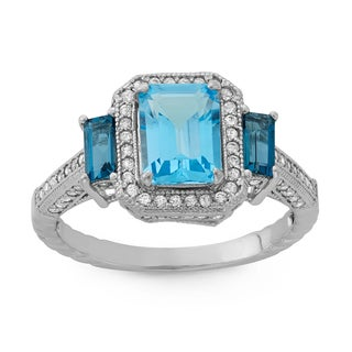 Gioelli Sterling Silver Swiss and London Blue Topaz and Created Sapphire Designer Ring