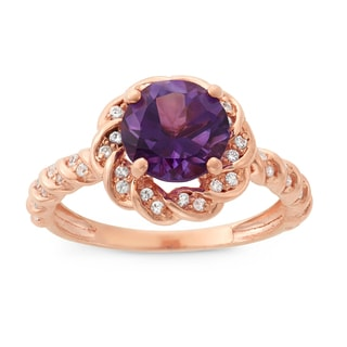 Gioelli Sterling Silver Amethyst and Created Sapphire Flower Shaped Ring