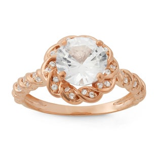 Gioelli Rose Gold Plated Silver Created White Sapphire Floral Ring