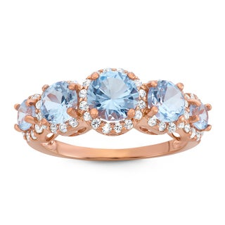 Gioelli Rose Goldplated Sterling Silver Round-cut Aquamarine and Created White Sapphire Ring