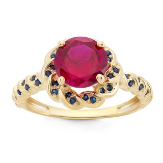 Gioelli Yellow Goldplated Sterling Silver Created Ruby and Created Sapphire Flower Shaped Ring