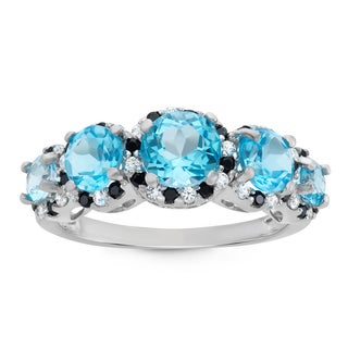 Gioelli Sterling Silver Round-cut Swiss Blue Topaz and Created White Sapphire/ Black Spinel Ring