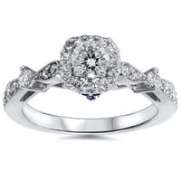 14k White Gold 1ct TDW Cushion-cut Halo Diamond Engagement Ring with Sapphire Accent