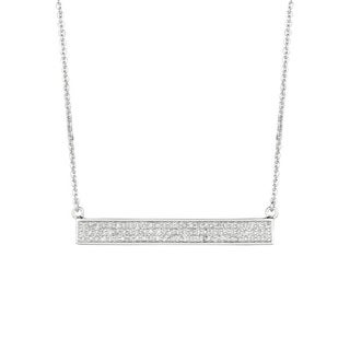 Sterling Silver 2/5ct Diamond 3-row Straight Trapeze Bar Necklace (G-H, I1-I2)