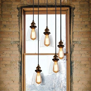 Euna 5-light Adjustable Cord Edison Lamp with Bulbs