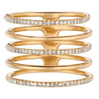 14k Yellow Gold 1/3ct TDW Diamond Multi Row Ring (G-H, I1)