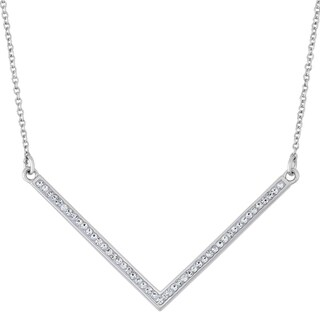 Fine Silver Plate Austrian Crystal Chevron Pendant Necklace