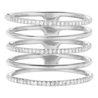 14k White Gold 1/3ct TDW Diamond Five Row Ring