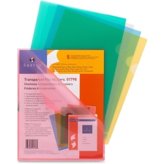 Sparco Transparent Poly File Holders - 5/PK