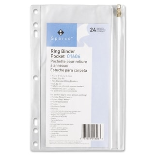 Sparco Clear Vinyl Ring Binder Pockets