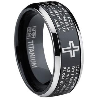 Link to Oliveti Black Titanium Men's Lord's Prayer Spinner Ring Similar Items in Rings