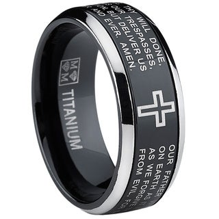 Oliveti Black Titanium Men's Lord's Prayer Spinner Ring