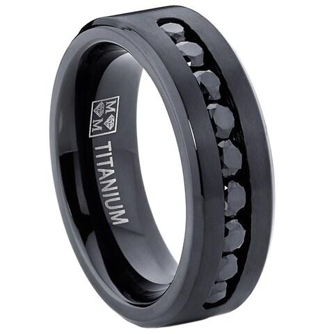 Oliveti Men's Black Titanium Black Cubic Zirconia Comfort Fit Ring
