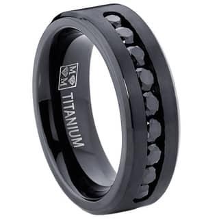 Oliveti Men's Black Titanium Black Cubic Zirconia Comfort Fit Ring|https://ak1.ostkcdn.com/images/products/9519128/P16697171.jpg?impolicy=medium