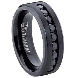 Oliveti Men's Black Titanium Black Cubic Zirconia Comfort Fit Ring