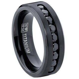 Oliveti Menu0027s Black Titanium Black Cubic Zirconia Comfort Fit Ring