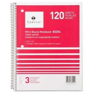 Sparco Wirebound College Ruled 3-subject Notebooks
