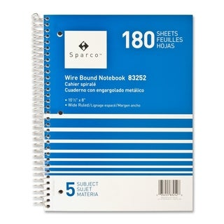 Sparco Quality Wirebound Wide Ruled 5-subject Notebooks