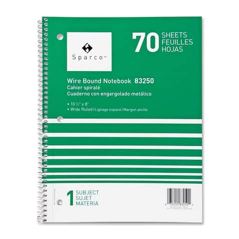 Sparco Quality Wirebound Wide Ruled 1-subject Notebooks