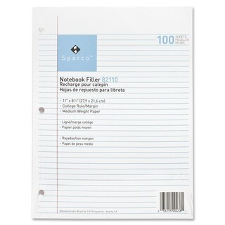 Sparco Notebook Filler Paper - 100/PK