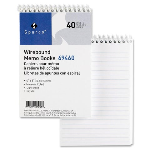 Sparco Wirebound Memo Books (Box of 12)