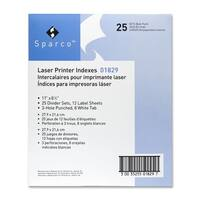 Sparco Laser Printer Indexing System Dividers (Box of 25)