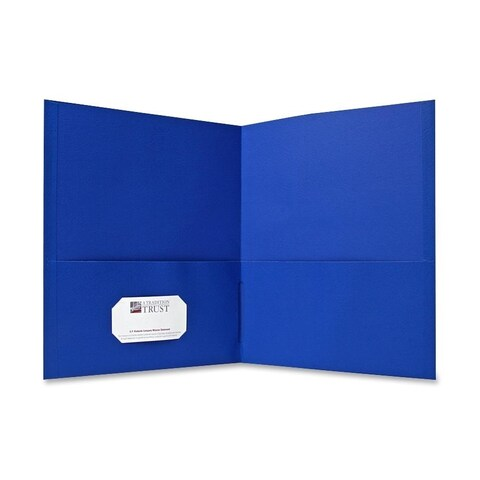 Sparco Blue Simulated Leather Double Pocket Folders (Box of 25)