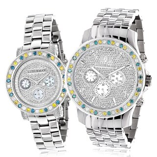 Luxurman White/ Blue/ Yellow Diamond 'His and Hers' Watch Set Metal Band and Extra Leather Straps