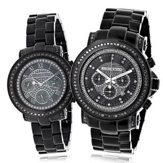 Luxurman Black Diamond His and Hers Watch Set