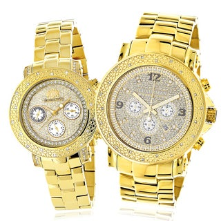 Luxurman Yellow Goldplated His and Hers Diamond Watch Set