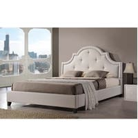 Gracewood Hollow Stiefvater Light Beige Linen Modern Platform Bed