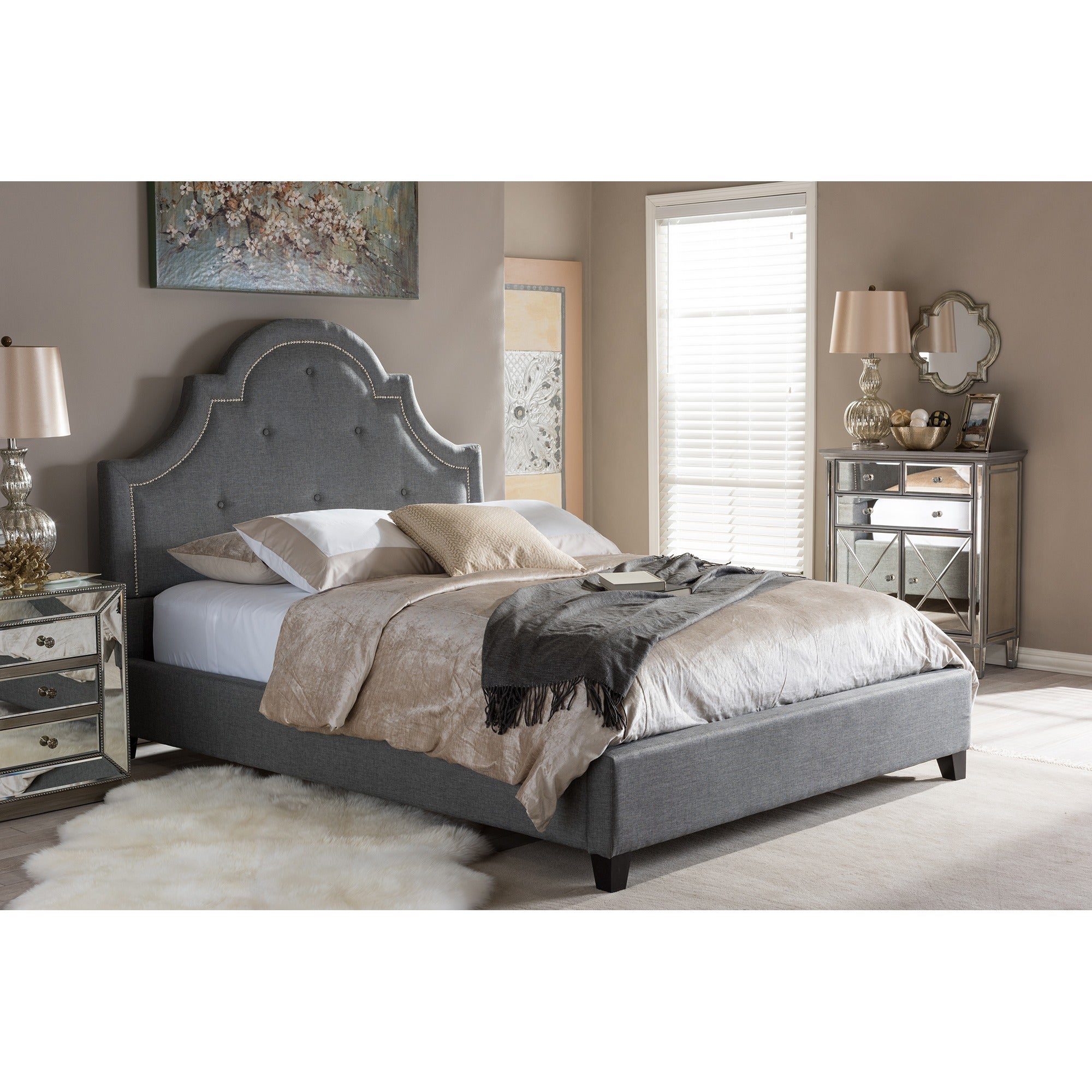 Contemporary Grey Fabric Platform Bed