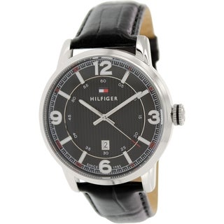 Tommy Hilfiger Men's 1710342 Black Leather Analog Quartz Watch with Black Dial